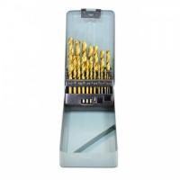 Набір свердел по металу, титанове покриття 1-10 мм, металевий футляр, 19 шт.